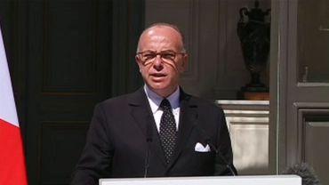 Bernard Cazeneuve le samedi 22 août lors de sa communication sur l'attentat déjoué du Thalys Amsterdam-Paris.