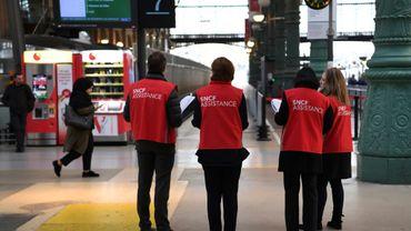Salariés de la SNCF en Gare du Nord le 4 avril 2018