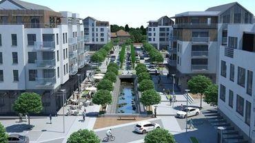 Les plans du futur quartier, sur le site des anciennes Papeteries de Genval.