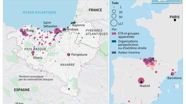 Les villes frappées durant les années ETA