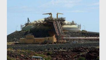 Un réservoir de stockage de gaz naturel liquéfié (GNL), près de Karratha, dans l'ouest de l'Australie, le 17 juin 2008