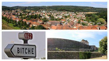 Citadelle et vue sur la ville de Bitche, dans le département de la Moselle (Nord-est de la France)