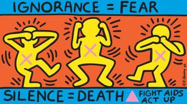 """Keith Haring (1958-1990), """"Ignorance = Fear"""", 1989. Cliquer en haut à droite pour voir les autres images."""