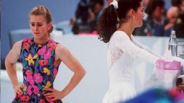 Tonya Harding et Nancy Kerrigan, sa grande rivale, en 1994 lors d'un entrainement