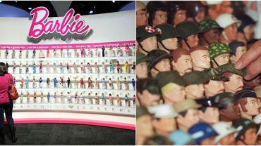 A gauche, Barbie, produit phare de Mattel. A droite : des têtes de G.I. Joe, le personnage lancé par Hasbro en 1964.
