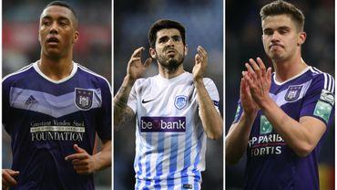 Youri Tielemans (Anderlecht), Alejandro Pozuelo (Genk) et Leander Dendoncker(Anderlecht)