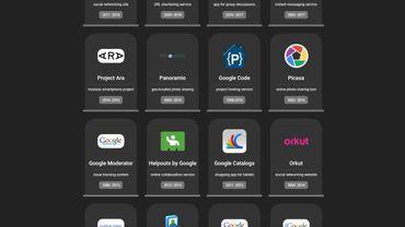 """Le """"cimetière"""" Google liste une quarantaine de services abandonnés par Google."""