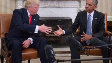 Le président sortant Barack Obama reçoit le président élu Donald Trump à la Maison Blanche, le 11 novembre 2016