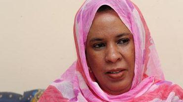 Lalla Mariem Mint Moulaye Idriss, 57 ans, candidate à l'élection présidentielle en Mauritanie, seule femme parmi cinq candidats, lors d'une interview avec l'AFP le 20 juin 2014 à Nouackshott.