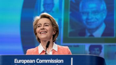 European Commission President German Ursula von der Leyen smiles as she gives a press conference to announce the names of the new European commissioners, on September 10, 2019
