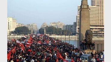 Manifestation au Caire le 2 février 2012 après les émeutes meurtrières de Port-Saïd
