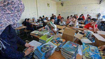 Jour de rentrée dans une classe d'une école pour réfugiés palestiniens gérée par l'Unrwa, à Beyrouth, le 3 septembre 2018