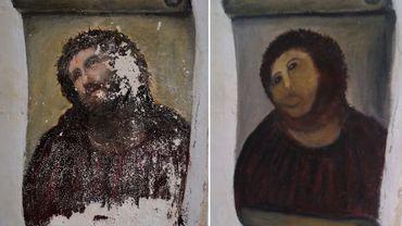 """La Christ de Borja, avant, et après """"restauration"""""""