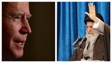 Joe Biden, le 20 janvier 2021, et l'Ayattolah Ali Khamenei, guide de la révolution iranienne