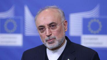 Ali Akbar Salehi, vice-président iranien et directeur de l'organisation atomique d'Iran (AEOI), lors d'un point presse à Bruxelles.