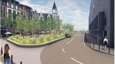 L'un des visages de la future place Cockeril: les problèmes, pour les bus et les cyclistes, se concentrent à l'autre extrémité...