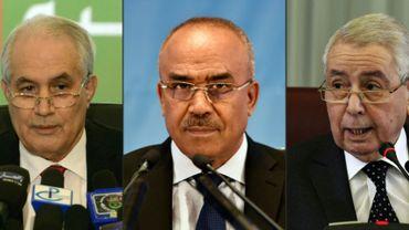 Photos du président du Conseil constitutionnel Tayeb Belaïz (gauche), du Premier ministre Noureddine Bedoui, actuel Premier ministre, et du président de la chambre haute Abdelkader Bensalah