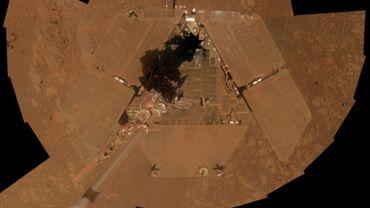 Robot-portrait de Rover Opportunity, vu d'en haut, pris le 23 janvier 2014 sur Mars