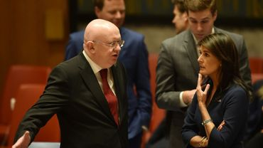 L'ambassadeur russe Vassily Nebenzia avec l'ambassadrice des Nations Unies Nikki Haley lors d'un Conseil de Sécurité à l'ONU à New York, le 18 avril 2018