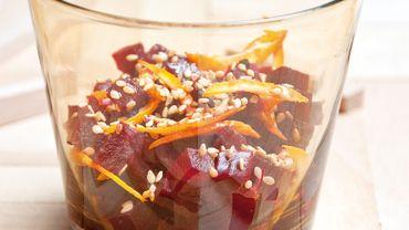 Salade de betterave aux graines de sésames et zestes d'orange