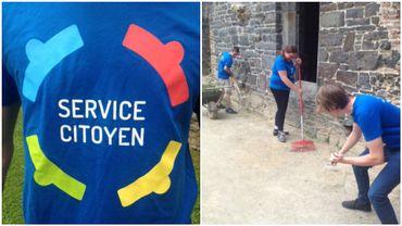 De jeunes volontaires du service citoyen s'activent à l'abbaye de Villers-la-Ville.