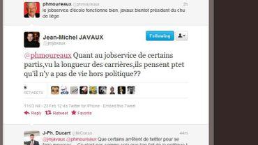 Twitter, théâtre d'une altercation entre J.-M. Javaux et P. Moureaux