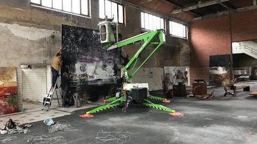 Installation de l'exposition sur le site du Martinet