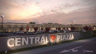 """Esquisse du projet de centre commercial à Soumagne, appelé """"Central Piazza"""""""
