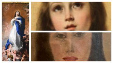 L'original au musée du Prado, en haut à droite, la copie avant restauration et en bas à droite… après restauration