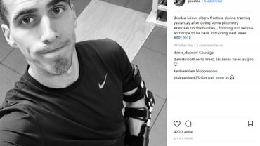 Jonathan Borlée victime d'une fracture du coude, au repos une semaine