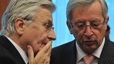 Jean-Claude Trichet, président de la BCE et Jean-Claude Juncker, à la tête de l'Eurogroupe