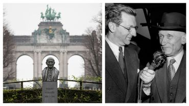 Statue de Robert Schuman (à présent rénovée) à Bruxelles, et image de Schuman répondant à un journaliste le 10 mai 1950
