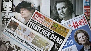 Les Unes de journaux annonçant la mort de Margaret Thatcher, le 9 avril 2013 à Hong Kong