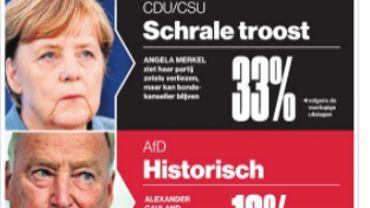"""""""Victoire cauchemardesque"""", """"Coup de massue pour l'Allemagne"""". La presse n'a pas de mots assez durs pour désigner la victoire à la Pyrrhus des conservateurs allemands. Elections législatives en Allemagne - Une victoire """"amère"""" voire """"cauchemardesque"""", selon la presse"""