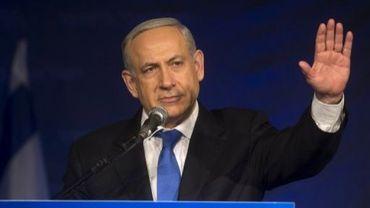 Le Premier ministre sortant israélien Benjamin Netanyahu lors d'un meeting de son parti à Tel Aviv, le 23 janvier 2013