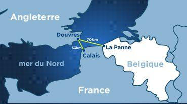 La distance entre La Panne et Douvres est plus de deux fois plus importante qu'entre Calais et Douvres