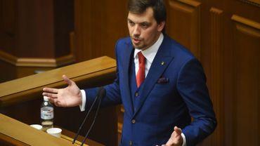 Le député ukrainien Oleksiy Goncharuk s'exprimera lors de la première session du nouveau parlement, à Kiev, le 29 août 2019. Le président ukrainien va demander au Parlement de confirmer en tant que Premier ministre Oleksiy Goncharuk, avocat âgé de 35 ans, qui travaille pour son administration .