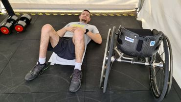 Joachim Gérard dans la salle de sport de Melbourne Park, le stade de l'Australian Open