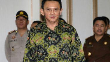 Le gouverneur chrétien de Jakarta Basuki Tjahaja Purname, appelé Ahok, arrive à son procès pour insulte à islam à Jakarta le 20 avril 2017