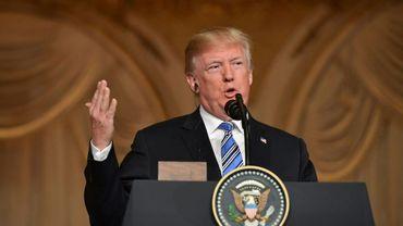 Donald Trump donne une conférence de presse dans sa résidence de Mar-a-Lago en Floride, le 18 avril 2018