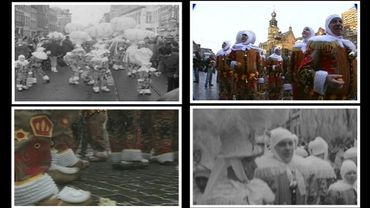 En noir et blanc ou en couleur, les Gilles de Binche n'ont pas changé