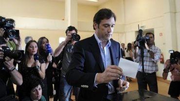 Pedro Passos Coelho, leader du PSD, vote à Amadora, le 5 juin 2011