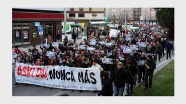Manifestation à Pamplune, le 18 janvier 2011 contre une opération de police visant les membres d'Askatasuna et Ekin.