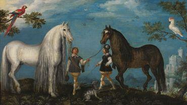 Roelandt Savery (1576-1639) Deux chevaux et des palefreniers Huile sur bois Courtrai, Musées municipaux