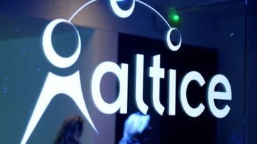 Le logo de la compagnie Altice, le 21 mars 2017 à Paris