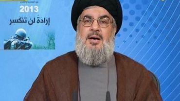 Capture d'écran de la TV al-Manar montrant Hassan Nasrallah, pendant son discours le 25 mai 2013