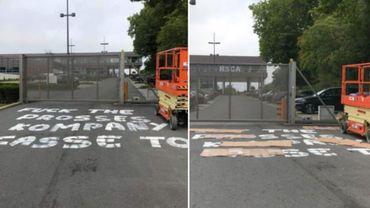 Un slogan anti Vincent Kompany à Anderlecht ce dimanche matin.