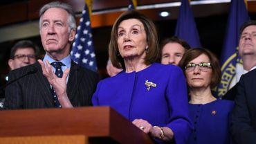 La cheffe des démocrates au Congrès Nancy Pelosi s'adresse aux élus à Washington DC le 10 décembre 2019 au sujet de l'accord de libre échange entre les Etats-Unis, le Canada et le Mexique