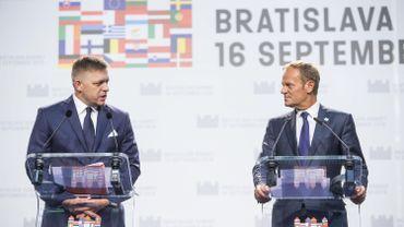 Robert Fico, Premier ministre slovaque, et Donald Tusk, président du Conseil européen.