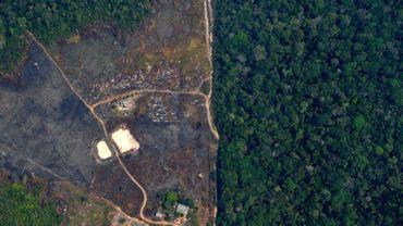 Une vue aérienne d'une partie de l'Amazonie touchée par la déforestation, près de Porto Velho le 23 août 2019